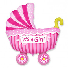 Balon folie 61cm figurina carucior It's a Girl - Decoratiuni botez
