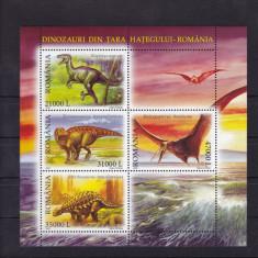 ROMANIA 2005, LP 1675a, DINOZAURI DIN TARA HATEGULUI-ROMANIA BLOC 4 MARCI MNH - Timbre Romania, Nestampilat
