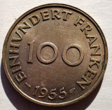 E.144 GERMANIA FRANTA SAARLAND SAAR 100 FRANKEN 1955 XF/AUNC, Europa, Cupru-Nichel