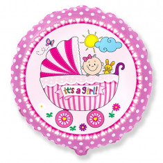 Balon folie 45cm carucior It's a girl! - Decoratiuni botez