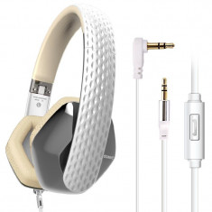 CASTI SOMIC MILANO M4 APPLE WHITE, Casti On Ear, Cu fir, Mufa 3, 5mm, Active Noise Cancelling