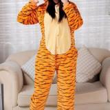 PJM12-99 Pijama intreaga kigurumi, model tigru - Pijamale dama, Marime: S, M, S/M, Galben
