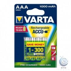 Acumulatori Varta AAA 1000 mAh / blister 4 buc - Baterie Aparat foto