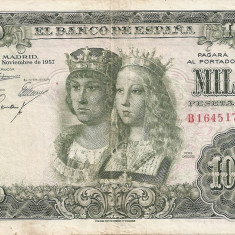 SPANIA 1000 PESETAS 1957 F - bancnota europa