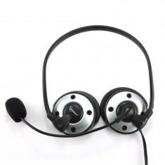 Casti cu microfon design pliabil, control volum, silver-black - Casca PC Gembird
