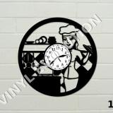 Ceas de perete din vinil - bucatarie: bucatar, tacamuri, ceasca, sticla vin