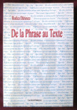 """""""DE LA PHRASE AU TEXTE"""", Rodica Dariescu, 2003. Carte noua"""