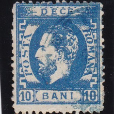 ROMANIA 1872 LP 36 CAROL I CU BARBA DANTELAT VAL.10 BANI ALBASTRU STAMP. - Timbre Romania, Stampilat