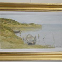 NICOLAE BLEI ULEI PE PANZA 50cm x 30cm PEISAJ CU BARCI SEMNAT FATA DR. JOS - Pictor roman, Peisaje, Realism