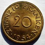 E.374 GERMANIA FRANTA SAARLAND SAAR 20 FRANKEN 1954 XF/AUNC, Europa, Bronz-Aluminiu