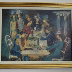 LIGIA MACOVEI ULEI PE PANZA 72cm x 53cm DOAMNE LA O SUETA SEMNAT DR. JOS - Pictor roman, Peisaje, Realism