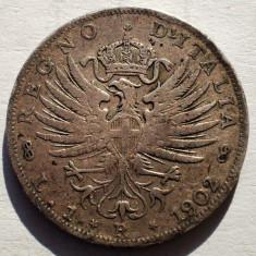 A.173 ITALIA VITTORIO EMANUELE III 1 LIRA 1902 ARGINT 4, 8g, Europa