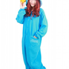 PJM18-4 Pijama kigurumi intreaga, model Cookie Monster - Pijamale dama, Marime: S, Albastru