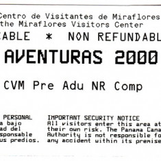 Bilet intrare folosit la Canalul Panama, portile Miraflores
