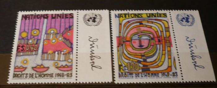 NATIUNILE UNITE GENEVA 1983 – DREPTURILE OMULUI, serie nestampilata UN33 foto mare