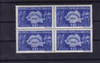 ROMANIA 1948 , LP 226 , RECENSAMANTUL BLOC DE 4 TIMBRE MNH foto