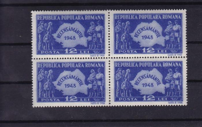 ROMANIA 1948 , LP 226 , RECENSAMANTUL BLOC DE 4 TIMBRE MNH foto mare