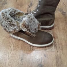 Bocanci dama TIMBERLAND originali noi piele waterproof khaki imblaniti 37/40, Piele naturala