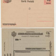 RFL 1919 ROMANIA emisiunea Cluj - doua intreguri postale supratiparite neuzate, 1900-1950