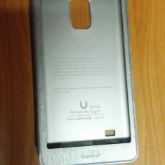 Husa Samsung Galaxy Note 4 - Husa Telefon, Argintiu, Cu clapeta