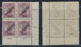 1919 ROMANIA emisiunea Oradea eroare Zita 50b supratipar ranversat bloc de 4 MNH