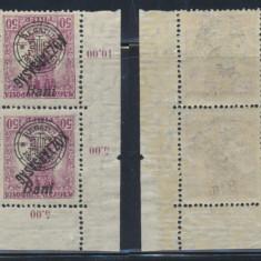 RFL 1919 ROMANIA emisiunea Oradea eroare Zita 50b supratipar ranversat bloc de 4 - Timbre Romania, Nestampilat