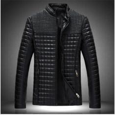 Geaca barbati din piele ecologica, model asemanator Burberry, Marime: XL/XXL, Culoare: Negru