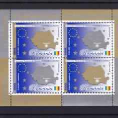 ROMANIA 2005, LP 1682a, TRATATUL DE ADERARE A ROMANIEI LA UE BLOC DE 4 MNH - Timbre Romania, Nestampilat