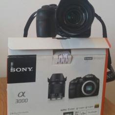 Camera foto mirrorless Sony a3000 plus geanta A+, card 64GB Hama, trepied Hama