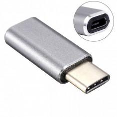 Adaptor OTG microUSB-USB Type-C Aluminiu Gri