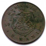 G5. ROMANIA 2 bani 1900, 1 g, Cu, Carol I, necuratata **