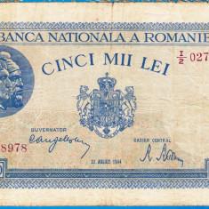Bancnota 5000 lei 22 august 1944 VF+ RARA - Bancnota romaneasca
