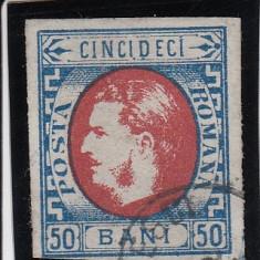 ROMANIA 1869, CAROL I CU FAVORITI VALOAREA 50 BANI ALBASTRU SI ROSU STAMPILAT - Timbre Romania