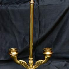 SFESNIC DE MANA CU AGATATOARE PENTRU DOUA LUMANARI DIN ALAMA SI METAL MASIV - Metal/Fonta, Sfesnice
