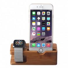 Suport birou Apple iPhone 6 si Apple Watch Bamboo