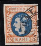 ROMANIA 1869 LP 28 MI 24 CAROL I CU FAVORITI VAL. 25 BANI PORT/ALBASTRU STAMP., Stampilat