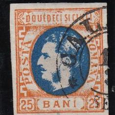 ROMANIA 1869 LP 28 MI 24 CAROL I CU FAVORITI VAL. 25 BANI PORT/ALBASTRU STAMP. - Timbre Romania, Stampilat