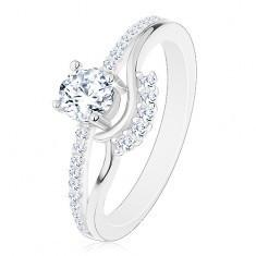 Inel din argint 925 - de logodnă, brațe despicate, zirconiu, valuri și linie strălucitoare - Inel argint