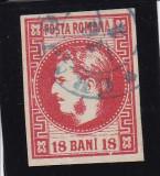 ROMANIA 1868 LP 24 CAROL I CU FAVORITI  VALOAREA  18 BANI ROSU  STAMP. CRAIOVA, Stampilat