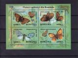 ROMANIA 2002 LP 1591 FLUTURI ENDEMICI DIN ROMANIA BLOC DE 4 TIMBRE MNH, Nestampilat