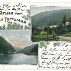 3536 - Litho, Sibiu, TURNU ROSU - old postcard - used - 1904 - Carte Postala Transilvania pana la 1904, Circulata, Printata