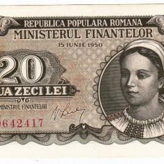 Bancnota 20 lei 1950 a.UNC - Bancnota romaneasca