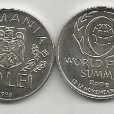 ROMANIA 10 LEI 1996 World Food Summit ROME ROMA - UNC, necirculata, in cartonas - Moneda Romania, Fier