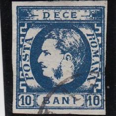 ROMANIA 1869, CAROL I CU FAVORITI VALOAREA 10 BANI ALBASTRU STAMPILAT - Timbre Romania