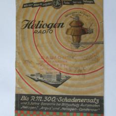 CATALOG/CARTE PUBLICITARA FABRICA PRODUSE ELECTROTEHNICE HELIOGEN, GERMANIA 1931 - Reclama Tiparita