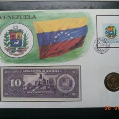 Venezuela - Plic ( FDC ), moneda si bancnota. - bancnota america
