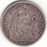 Republica Peruana - 1/5 Sol 1891 - Argint