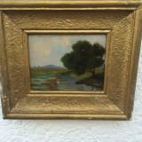 Tablou peisaj cu Barza  Stelek Norbert, Peisaje, Ulei, Realism
