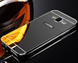 Bumper Samsung Galaxy J3 2016 Aluminiu + Capac Mirror Negru