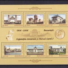 ROMANIA 2006 LP1724a CENTENARUL PARC CAROL I SI EXPOZITIA 1906 BLOC MNH - Timbre Romania, Nestampilat